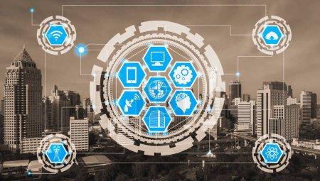 Photo pour Concept de ville intelligente et de réseau de communication sans fil - Internet des objets (IOT), Technologies de l'information et des communications (TIC)  ) - image libre de droit