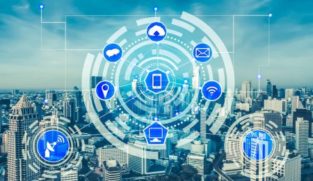 Photo for Smart city wireless communication network with graphic showing concept of internet of things (IOT) and information communication technology (ICT) against modern city buildings in the background. - Royalty Free Image