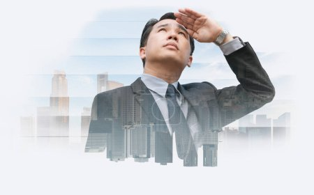 Photo for Double exposure - Business leader vision for success, looking away with modern buildings in city background. Concept of talented leadership. - Royalty Free Image