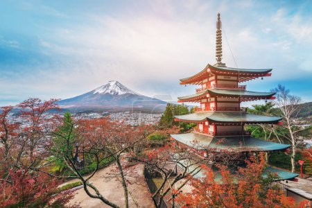 Mount Fuji and Chureito Pagoda at sunrise in autumn, Japan. The Pagoda is in Arakura Sengen Shrine where tourist can see Mt Fuji from panoramic view, one of the most famous view of Fuji Mountain.