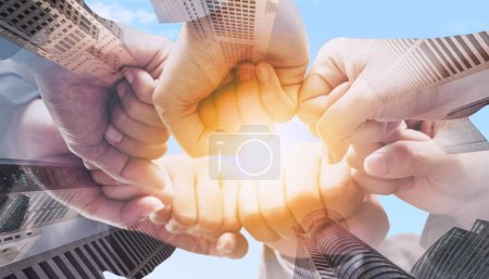 Photo for Business people team joining hands showing teamwork, collaboration and unity. - Royalty Free Image