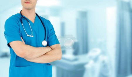 Photo for Young male doctor working at the hospital. Medical healthcare and doctor staff service. - Royalty Free Image