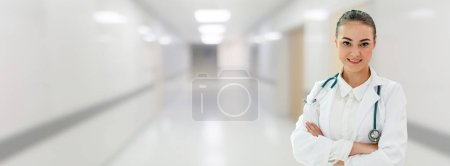 Photo for Woman doctor working at the hospital office. Medical healthcare and doctor staff service. - Royalty Free Image