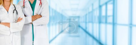 Photo for Doctor working with another doctor in the hospital. Healthcare and medical service. - Royalty Free Image