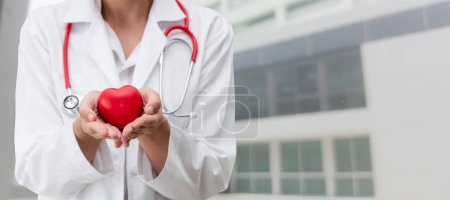 Photo for Doctor holding a red heart at hospital office. Medical health care and doctor staff service concept. - Royalty Free Image