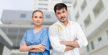 Photo for Doctors at hospital office working with another doctor. Healthcare and medical services. - Royalty Free Image