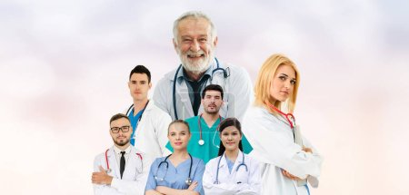 Photo for Healthcare people group portrait in creative layout. Professional medical staff, doctors, nurse and surgeon. Medical technology research institute and doctor staff service concept. - Royalty Free Image