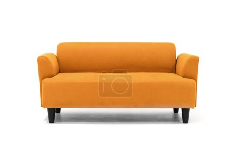 Photo for Brown Scandinavian style contemporary sofa on white background with modern and minimal furniture design for stylish living room. - Royalty Free Image
