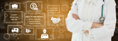Photo for Health Insurance Concept - Doctor in hospital with health insurance related icon graphic interface showing healthcare people, money planning, risk management, medical treatment and coverage benefit. - Royalty Free Image