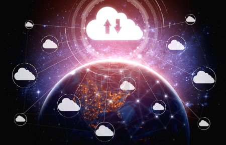 Photo pour Technologie de cloud computing et stockage de données en ligne pour le concept de réseau d'entreprise. L'ordinateur se connecte au service de serveur Internet pour le transfert de données en nuage présenté dans l'interface graphique futuriste 3D. - image libre de droit