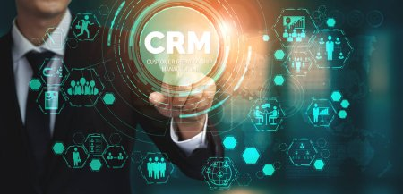 Photo for CRM Customer Relationship Management for business sales marketing system concept presented in futuristic graphic interface of service application to support CRM database analysis. - Royalty Free Image