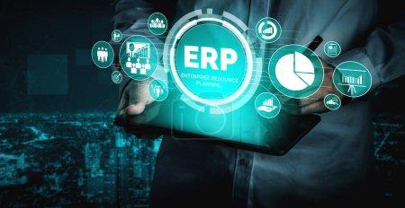 Photo pour Enterprise Resource Management ERP software system for business resources plan présenté dans l'interface graphique moderne montrant la technologie future pour gérer les ressources d'entreprise de l'entreprise. - image libre de droit