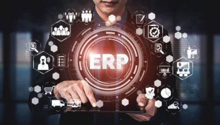 Photo pour Enterprise Resource Management ERP software system for business resources plan présenté dans l'interface graphique moderne montrant la technologie future pour gérer les ressources d'entreprise de l'entreprise . - image libre de droit
