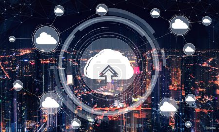 Photo for Cloud computing technology and online data storage for business network concept. Computer connects to internet server service for cloud data transfer presented in 3D futuristic graphic interface. - Royalty Free Image