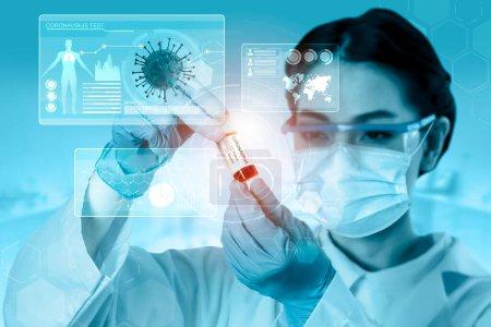 Photo pour Coronavirus COVID-19 test médical concept de recherche et développement de vaccins. Scientifique en étude de laboratoire et analyse un échantillon scientifique d'anticorps contre le coronavirus pour produire un traitement médicamenteux pour la COVID-19. - image libre de droit