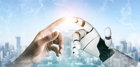 Photo pour Développement technologique robotisé futuriste, intelligence artificielle et concept d'apprentissage automatique. Recherche mondiale en sciences bioniques robotiques pour l'avenir de la vie humaine. - image libre de droit