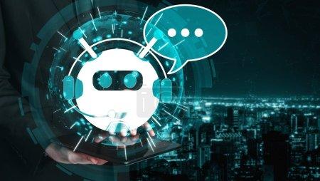 Photo pour Concept d'application de service client numérique intelligent AI Chatbot. Application pour ordinateur ou appareil mobile utilisant l'intelligence artificielle chat bot réponse automatique message en ligne pour aider les clients instantanément. - image libre de droit