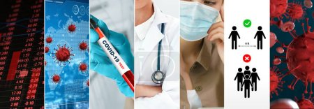 Photo for Coronavirus COVID-19 news story summary photo set in concept of covid-19 effects to people life behavior, economy, social and medical service caused by outbreak of 2019 coronavirus disease. - Royalty Free Image