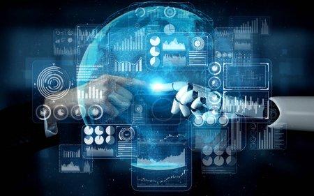 Photo pour Rendre 3D intelligence artificielle Recherche IA de développement de robots et de cyborgs pour l'avenir des personnes vivant. Conception de technologies numériques d'exploration de données et d'apprentissage automatique pour cerveau d'ordinateur. - image libre de droit