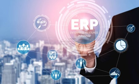 Photo for Enterprise Resource Management ERP software system for business resources plan presented in modern graphic interface showing future technology to manage company enterprise resource. - Royalty Free Image